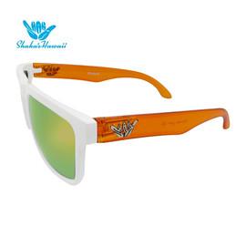 Bruno(ブルーノ)ホワイト(レンズイエロー、つるクリアオレンジ)Shaka's Hawaii Sunglasses(シャカサングラス)
