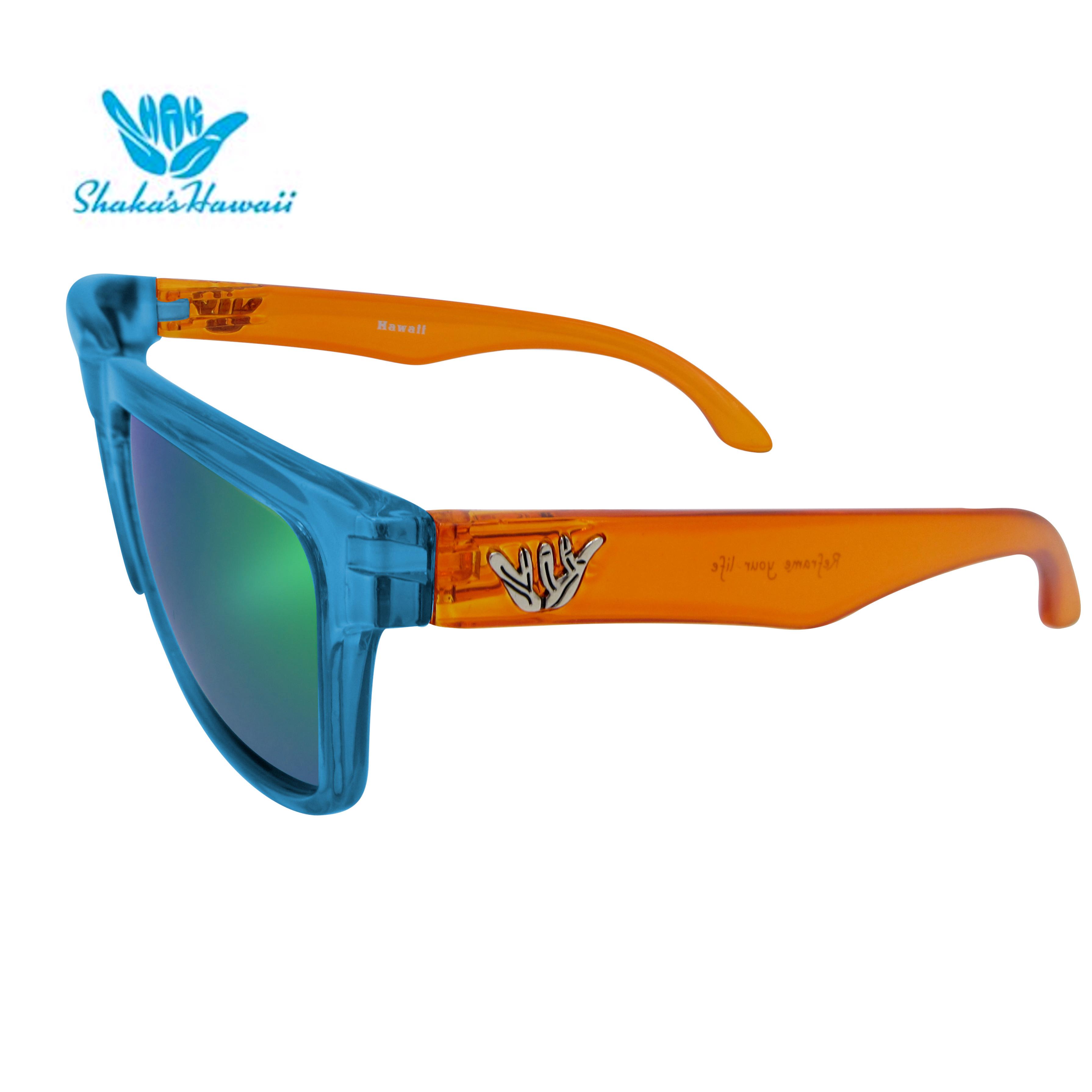 Bruno(ブルーノ)クリアブルー(レンズグリーン、つるクリアオレンジShaka's Hawaii Sunglasses(シャカサングラス)