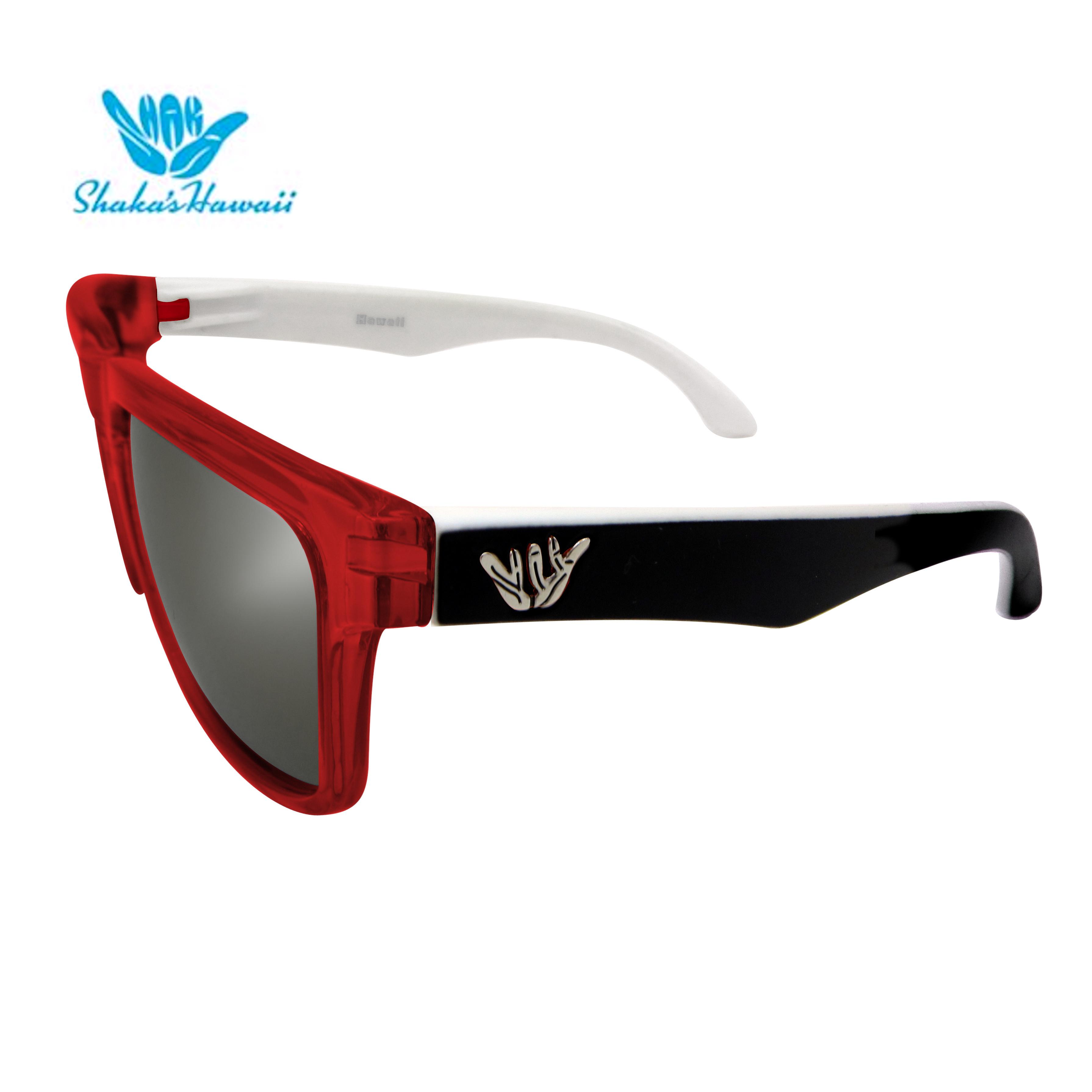 Bruno(ブルーノ)クリアレッド(レンズシルバー、つるブラック×ホワイト)Shaka's Hawaii Sunglasses(シャカサングラス)
